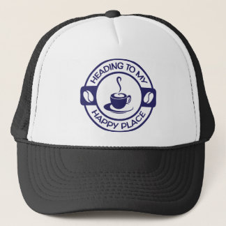 A257 happy place coffee navy blue trucker hat