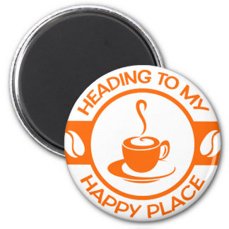 A257 happy place coffee orange 2 inch round magnet
