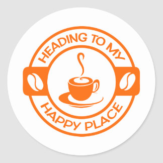 A257 happy place coffee orange classic round sticker