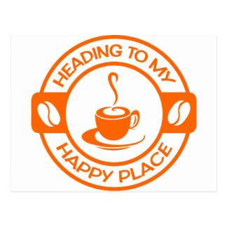A257 happy place coffee orange postcard