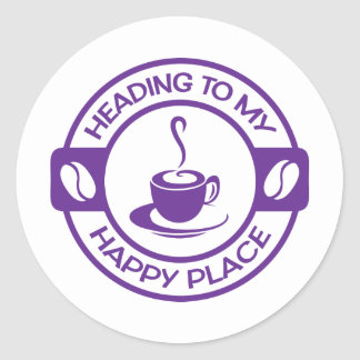 A257 happy place coffee purple classic round sticker