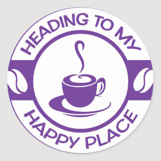 A257 happy place coffee purple classic round sticker