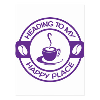 A257 happy place coffee purple postcard