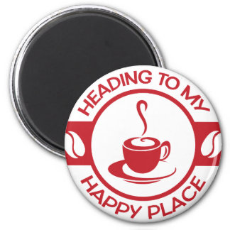 A257 happy place coffee red 2 inch round magnet