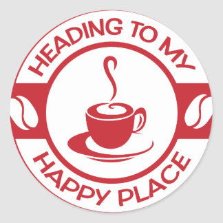 A257 happy place coffee red classic round sticker