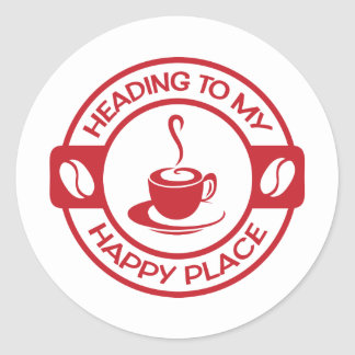 A257 happy place coffee red round sticker