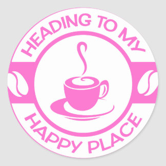 A257 happy place coffee soft pink classic round sticker