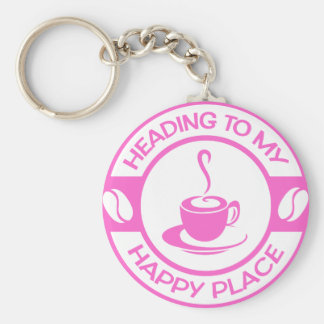 A257 happy place coffee soft pink keychain