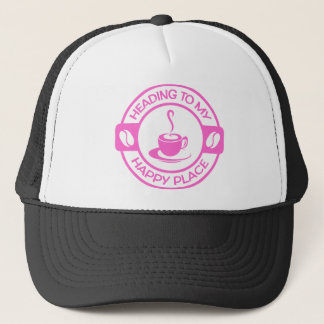 A257 happy place coffee soft pink trucker hat