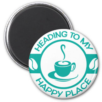 A257 happy place coffee teal 2 inch round magnet
