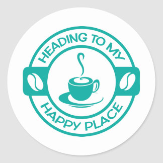 A257 happy place coffee teal classic round sticker