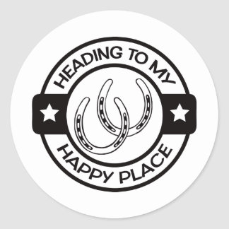 A258 happy place horseshoes black classic round sticker