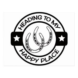 A258 happy place horseshoes black postcard