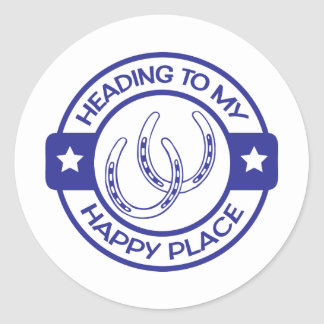 A258 happy place horseshoes blue classic round sticker