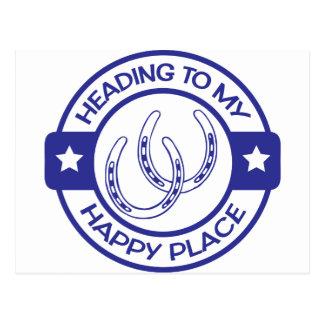 A258 happy place horseshoes blue postcard