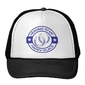 A258 happy place horseshoes blue trucker hat