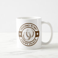 A258 happy place horseshoes brown coffee mugs