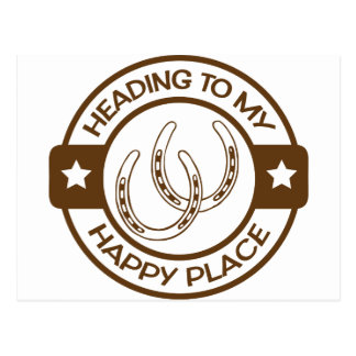 A258 happy place horseshoes brown postcard