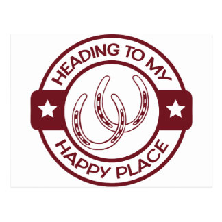 A258 happy place horseshoes burgundy postcard