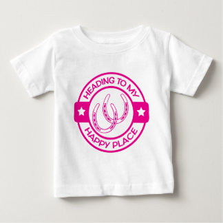 A258 happy place horseshoes hot pink baby T-Shirt