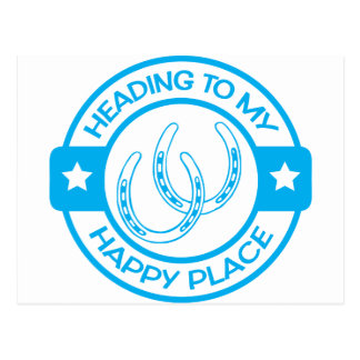 A258 happy place horseshoes light blue postcard