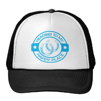 A258 happy place horseshoes light blue trucker hat