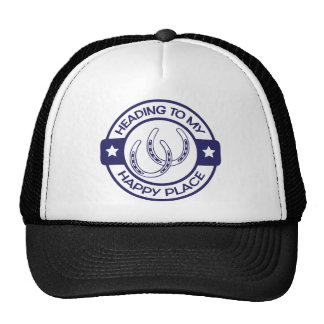 A258 happy place horseshoes navy blue trucker hat