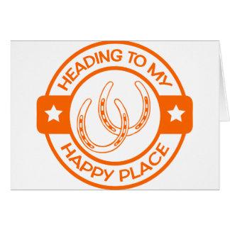 A258 happy place horseshoes orange card