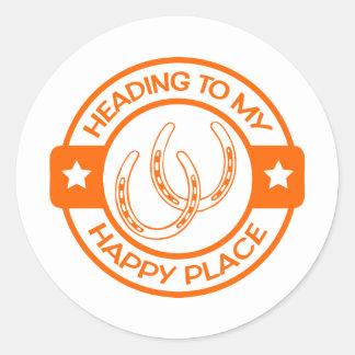 A258 happy place horseshoes orange classic round sticker