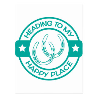 A258 happy place horseshoes teal postcard