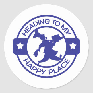 A259 happy place pastry chef blue classic round sticker