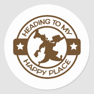 A259 happy place pastry chef brown classic round sticker