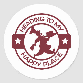 A259 happy place pastry chef burgundy classic round sticker