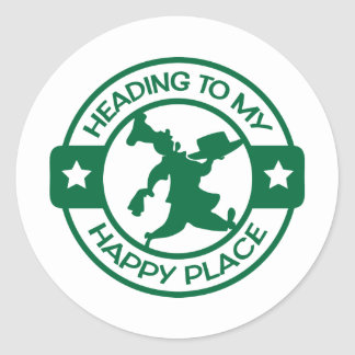 A259 happy place pastry chef dark green classic round sticker