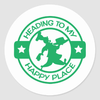 A259 happy place pastry chef green classic round sticker