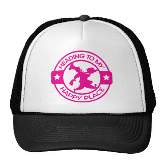 A259 happy place pastry chef hot pink mesh hats