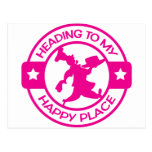A259 happy place pastry chef hot pink post card