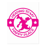 A259 happy place pastry chef hot pink post cards