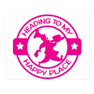 A259 happy place pastry chef hot pink postcard