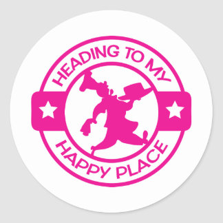 A259 happy place pastry chef hot pink classic round sticker