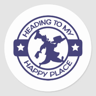 A259 happy place pastry chef navy blue classic round sticker