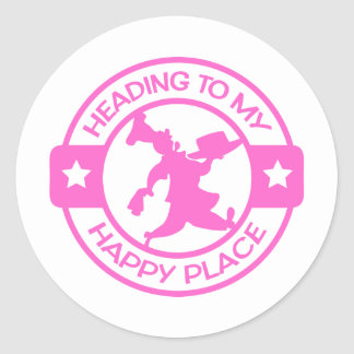 A259 happy place pastry chef soft pink classic round sticker