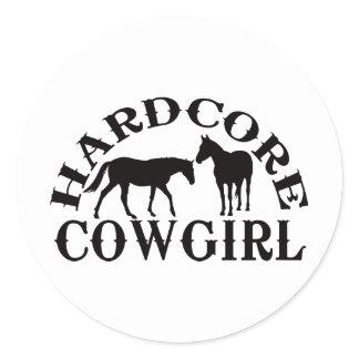 A262 hardcore cowgirl black classic round sticker