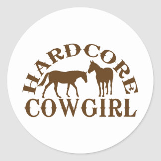 A262 hardcore cowgirl brown classic round sticker
