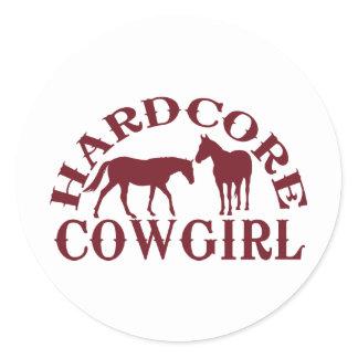 A262 hardcore cowgirl burgundy classic round sticker