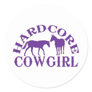 A262 hardcore cowgirl purple classic round sticker