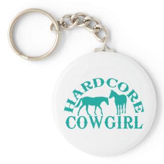 A262 hardcore cowgirl teal keychain