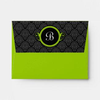 A2 Apple Lime Green Damask Flap Monogram Envelopes