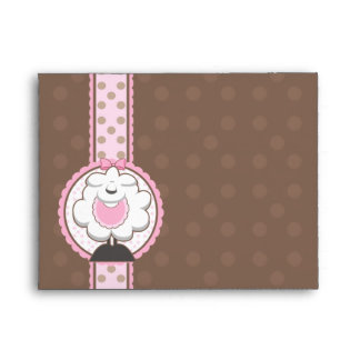 A2 Baby Sheep Pink & Brown Baby Shower Envelopes