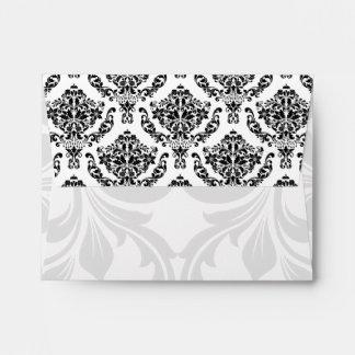 A2 Black and White Damask Flap Envelopes